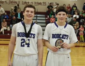 After the Clear Creek/Pickens game, the Bobcats recognized C.J. Streicher (left) as both their Academic Award recipient and All-Tournament selection and Connor Thompson (right) as their Tournament MVP. (Photo by: Kevin Hensley)